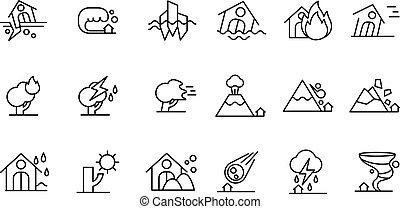 Natural disaster icon set, storm, flood, volcanic eruption, tornado, rockfall, fire, drought black line vector Illustrations