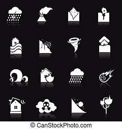 Natural Disaster Icons - Natural disaster danger white icons...