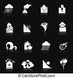 Natural Disaster Icons - Natural disaster danger white icons...