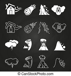 Natural disaster icons on chalkboard