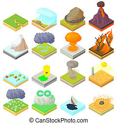 Natural disaster icons set, isometric 3d style - icons set...