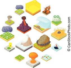 Natural disaster icons set, isometric 3d style