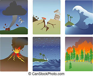 natural disaster minitures - miniature vector illustrations ...