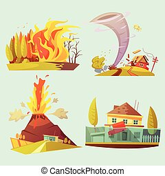 Natural Disaster Retro Cartoon 2x2 Icons Set - Natural...