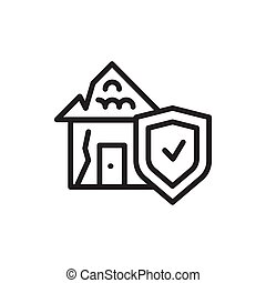 Natural disaster risk insurance color line icon. Isolated vector element.