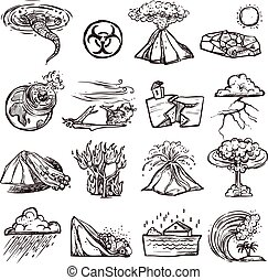 Natural Disaster Sketch Icon Set - Natural disasters...