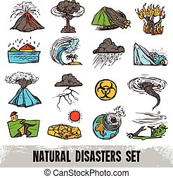 Natural Disasters Color Set - Natural disasters color sketch...