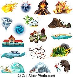 Natural Disasters Icons Set