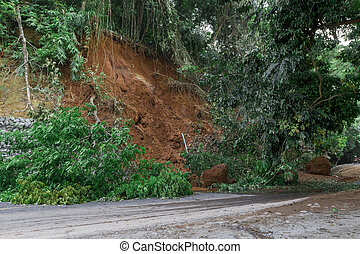 Natural disasters, landslides during the rainy season .