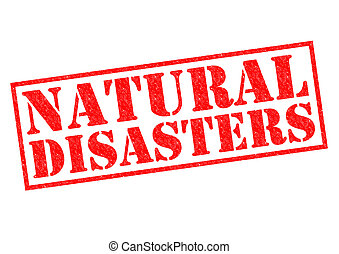 NATURAL DISASTERS red Rubber Stamp over a white background.