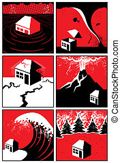 Set of 6 illustrations/icons of natural disasters. No transparency and gradients used.