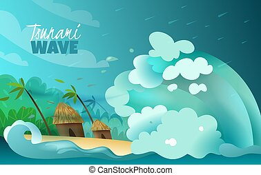 Natural disasters stylized colorful poster with colossal tsunami wave crashing ashore devastating bungalows and palms vector illustration