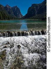 natural, dolomites, braies, -, lago, paraisos