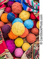 natural dyed wool yarn peruvian Andes Cuzco Peru - natural...