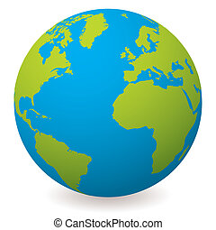 natural earth globe - Illustrated earth globe in realistic ...