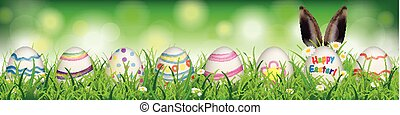 Natural Easter Eggs Happy Easter Rabbit Ears Header