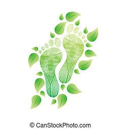 natural, eco, concept., ilustración, pies, amistoso