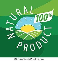 natural, ecológico, vetorial, produtos, logotipo, paisagem