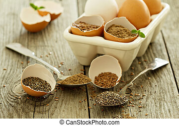 Natural egg replacers - Chia seeds and flaxseed - egg...