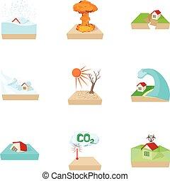 Natural emergency icons set, cartoon style