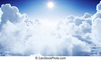 Natural Endless Cumulus Clouds Under the Shining Bright Sun Daylight Seamless. Flying Through the Nearest Clouds with the Afternoon Sun Looped 3d Animation. 4k Ultra HD 3840x2160