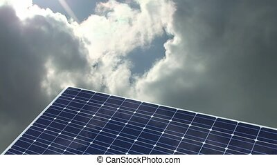 natural energy solar panel with time lapsed clouds in back