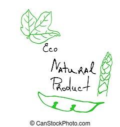 natural, esboço, produtos