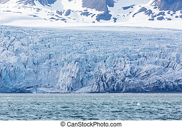 Esmarkbreen glacier ice front, crevasses, sea, Svalbard