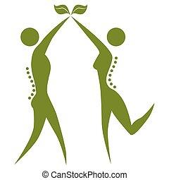 natural, espina dorsal, salud, pareja