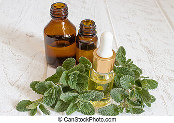 Natural essential oil of mint in a glass bottle with fresh mint leaves.