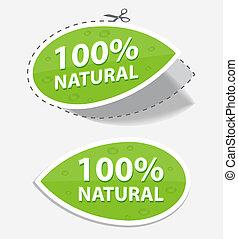 natural, etiquetas, verde