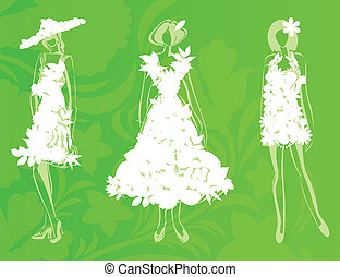 Natural fashion2 - Girls in dresses from leafs and flowers....