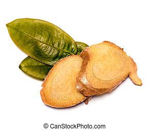 natural, fatias, gengibre, herbals, raiz, mostra