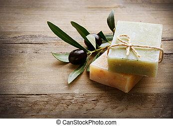 natural, feito à mão, sabonetes, e, azeitonas