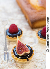 natural fig cakes or pie in tartlet