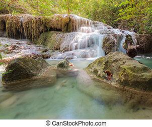 natural, floresta, profundo, cachoeiras