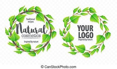 natural, folhas, sinal, verde, orgânica, logotipo