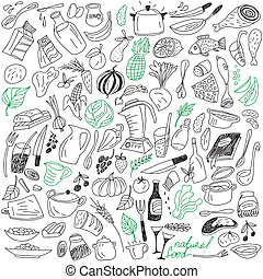 natural food doodles - natural food - set vector icons in...