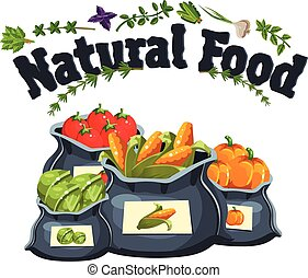 Natural food, farm products banner, bags with vegetables