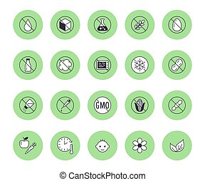 Natural food flat line icons set. Sugar, gluten free, no trans fats, salt, egg, nuts, vegan vector illustrations. Thin signs for packaging, expiration date