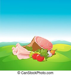 natural food - ham and vegetable on natural background