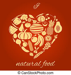 Heart made of fruits and vegetables natural organic food concept vector illustration