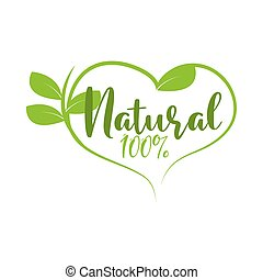 natural food heart label isolated