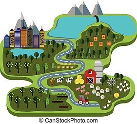 Natural food. infographic - Natural food. Farm and city....