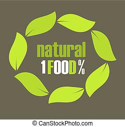 Natural food leaf symbol. Vector illustration