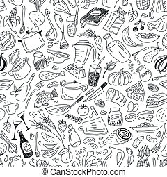 natural food -seamless pattern with icons in sketch style