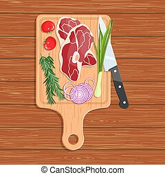 Natural foods on a cutting board