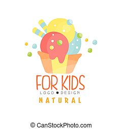 Natural for kids logo, healthy menu colorful creative template vector Illustration
