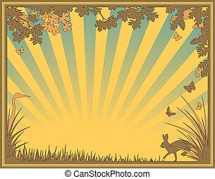 Natural frame - Editable vector illustration of a natural ...