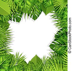 Natural Frame with Green Tropical Leaves